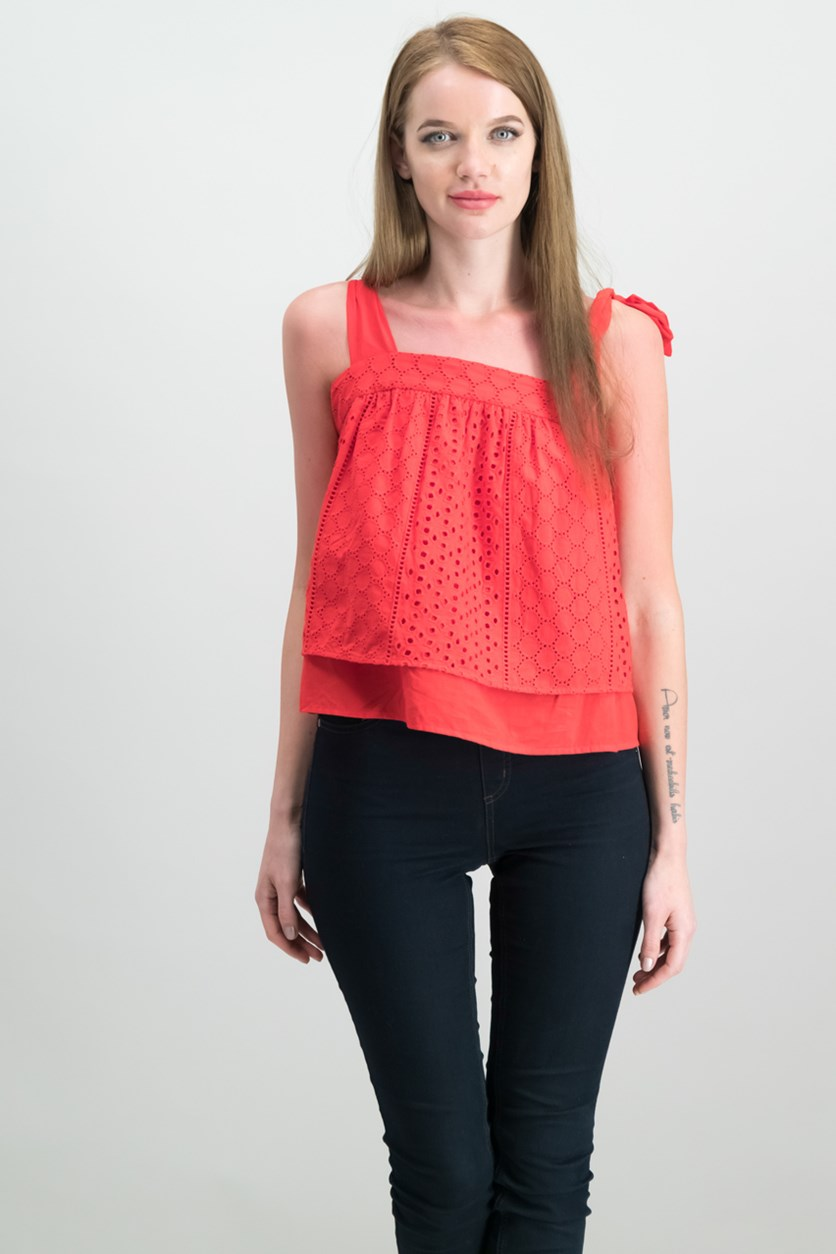 Cotton Eyelet Top, Radiant Red