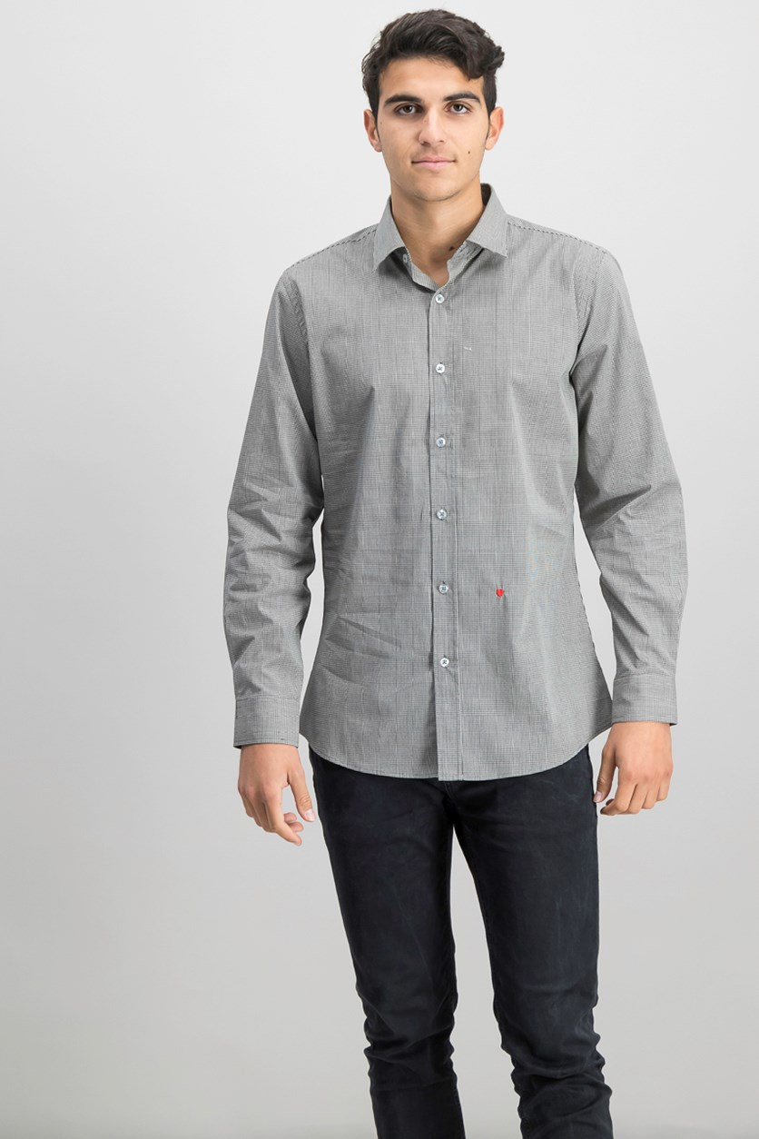 Men's Checkered Shirt, Dark Gray