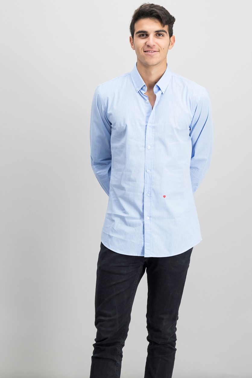 Moscshino Button Men's Stripe Shirt, Light Blue/White