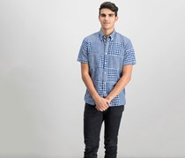 Brooks Brothers Mens Madras Gingham Shirt, Blue Combo