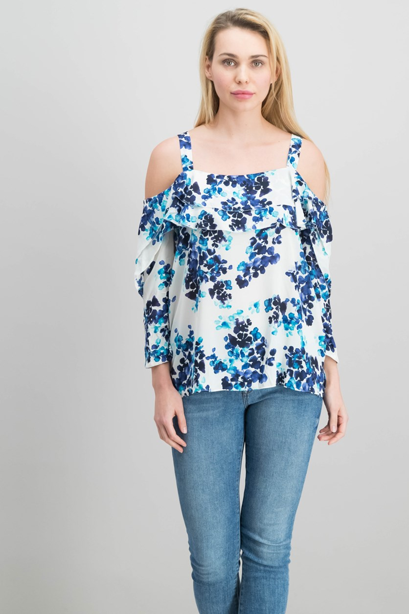 Women's Cold Shoulder Floral Top, Blue