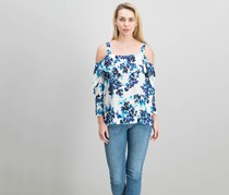 Nydj Women's Cold Shoulder Floral Top, Blue