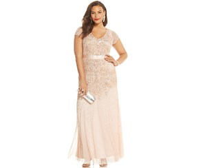 Adrianna Papell Women's Plus Size Embellished Cap-Sleeve Gown, Blush