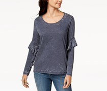 Style & Co Ruffle-Sleeve Burnout Top, Industrial Blue Wash