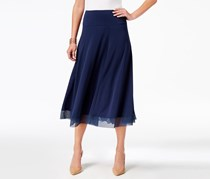 JM Collection Women Mesh-Hem A-Line Skirt, Intrepid Blue