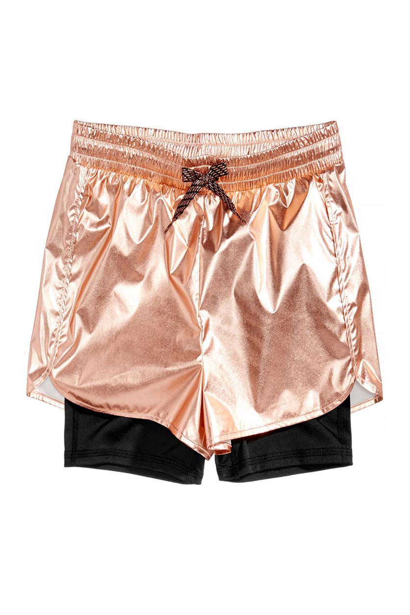 Metallic Layered-Look Shorts, Rose Gold