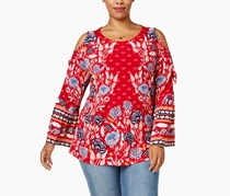 Style & Co. Plus Size Printed Cold-Shoulder Casual Top, Fantasy Floral