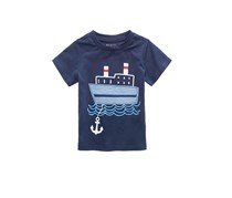 First Impressions Baby Boys Ship-Print Cotton T-Shirt, Navy Nautical