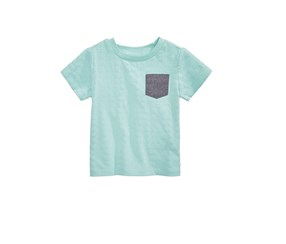 Toddlers Textured Cotton Pocket T-Shirt, Aqua Haze