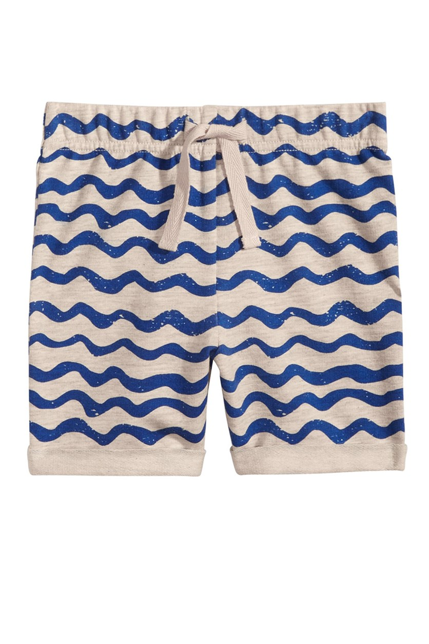Toddlers  Wave-Print Pull-On Shorts, Silver/Blue