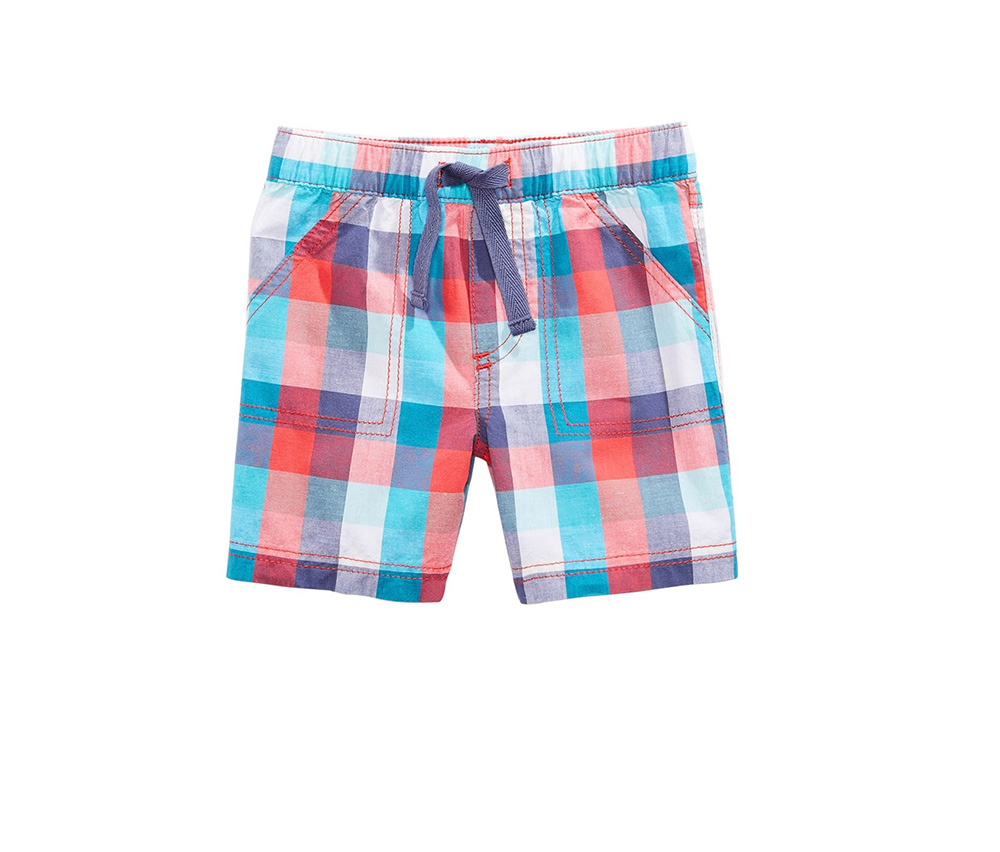 First Impressions Plaid-Print Cotton Shorts,  Aurora Rose