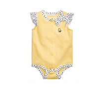 First Impressions Dot-Print Cotton Bee Creeper Bodysuit, Yellow