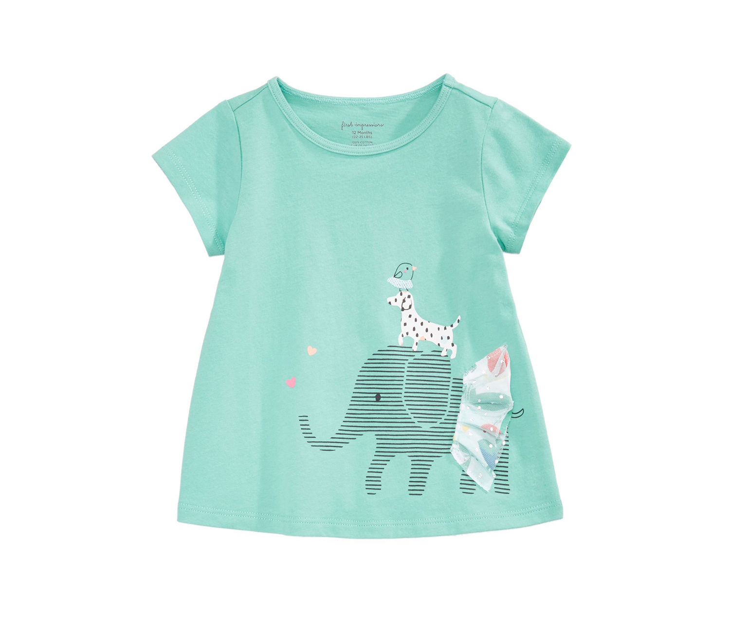 Todlers Graphic-Print Cotton Tunic, Porcelain Green