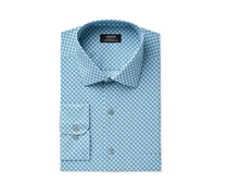 Alfani Mens Performance Windmill Geometric Print Dress Shirt, Teal