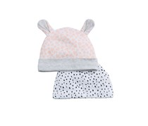 First Impressions 2-Pk. Printed Cotton Hats, Pink/Gray