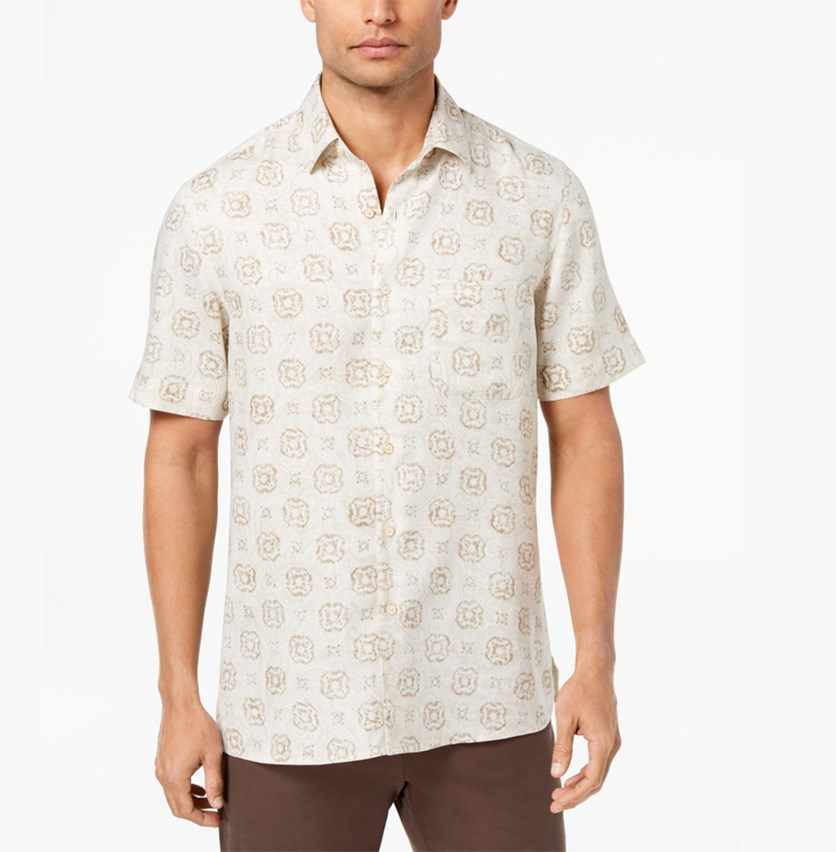 Island Men's Medallion-Print Shirt, Khaki Combo