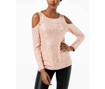 INC Sequined Cold-Shoulder Top, Shimmer Rose