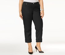 Style & Co Plus Size Cuffed Capri Jeans, Deep Black