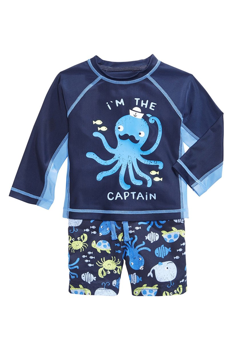 First Impressions 2-Pc. Octopus Rash Guard Swimwear, Navy Nautical