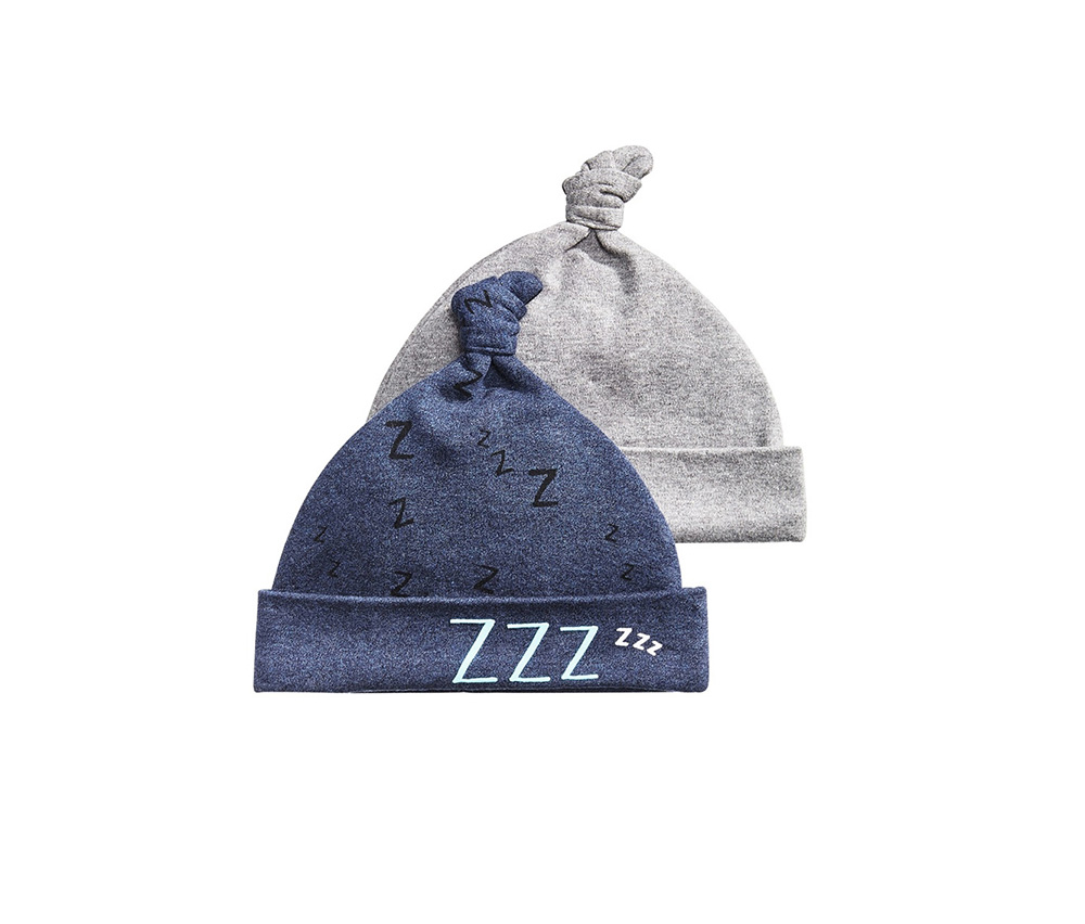 Baby Boys 2-Pk. Knotted Hat Set, Midnight Blue/Grey Heather