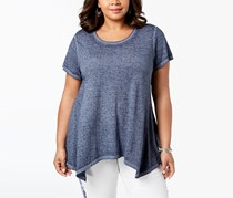Style Co Size Burn-Out Handkerchief Hem Top, Industrial Blue