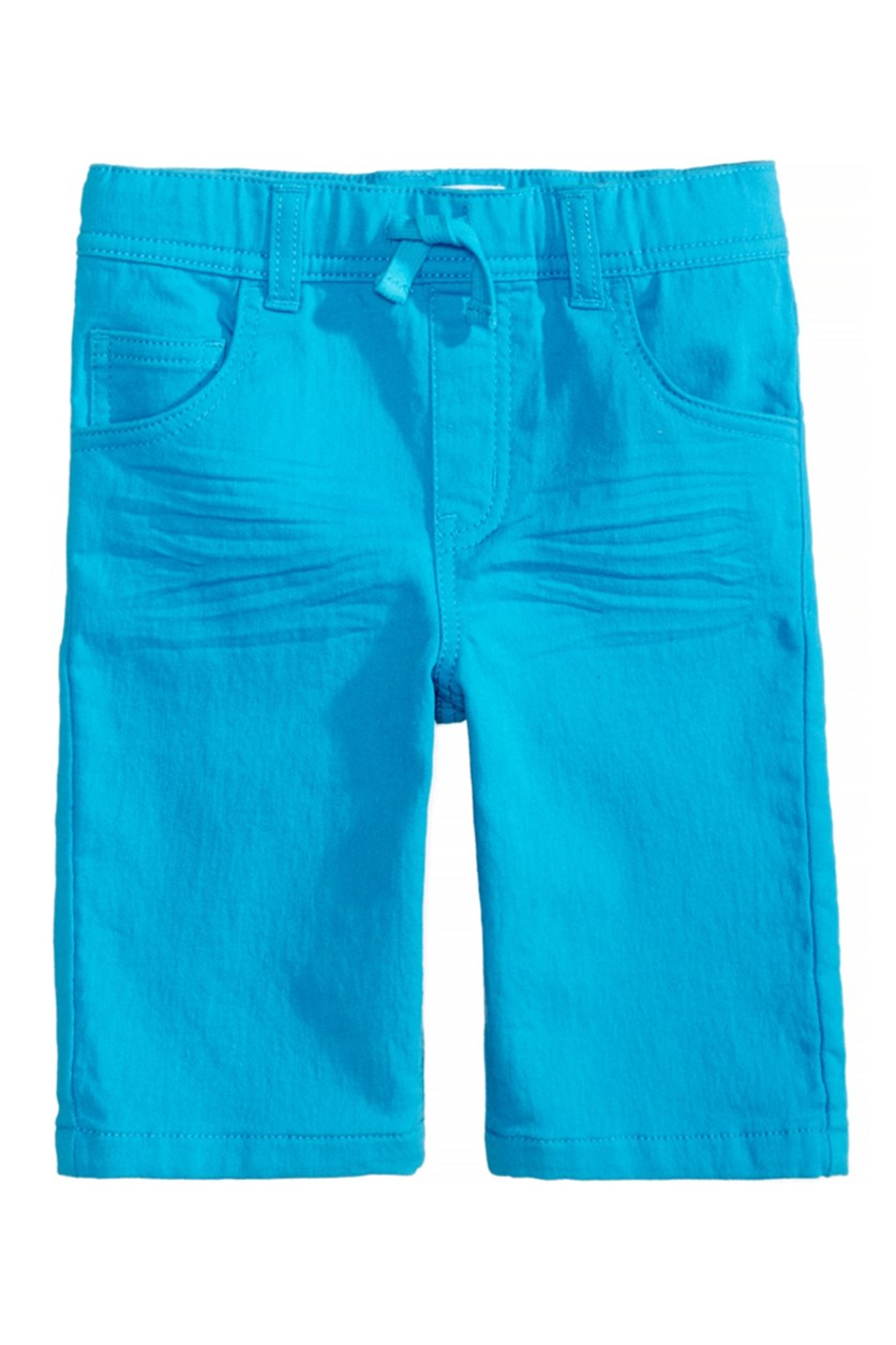 Toddlers Colored Denim Shorts, Blue Danube