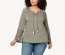 Style & Co. Plus Size Embroidered Lantern Top, Floral Sage