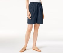 Karen Scott Cotton High-Rise Drawstring Shorts, Intrepid Blue
