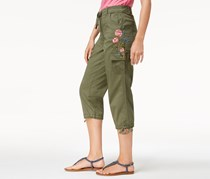 Style Co Embroidered Cropped Cargo Pant, Olive Sprig