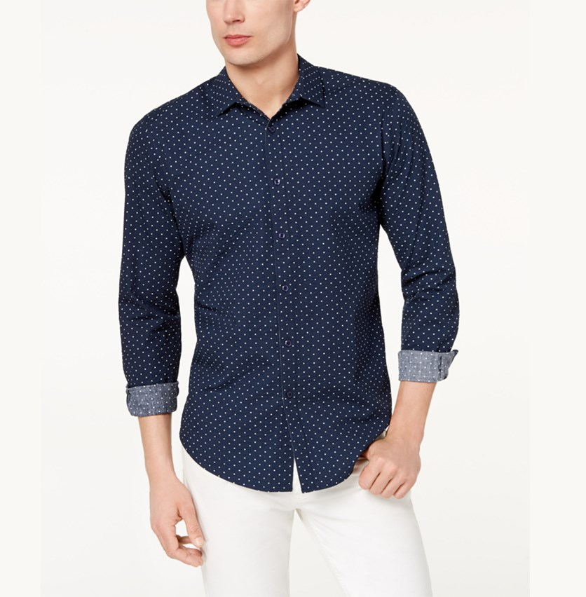 I.n.c. Men's Seersucker Dot Shirt, Basic Navy