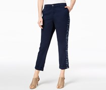 Style Co Embroidered Boyfriend Pants, Industrial Blue