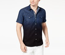 Inc International Concepts Men's Dip-Dyed Denim Shirt, Dark Wash