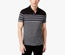 Alfani Men's Colorblocked Textured-Stripe Polo, Charcoal Grey Heather