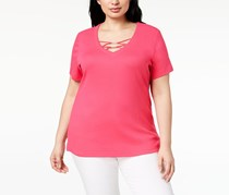 Karen Scott Plus Size Hardware T-Shirt, Steel Rose