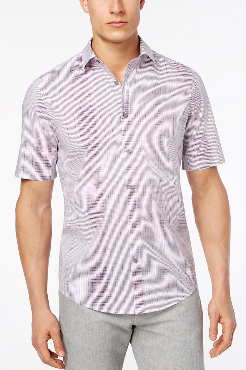 Mens Geometric Abstract Print, Vintage Plum
