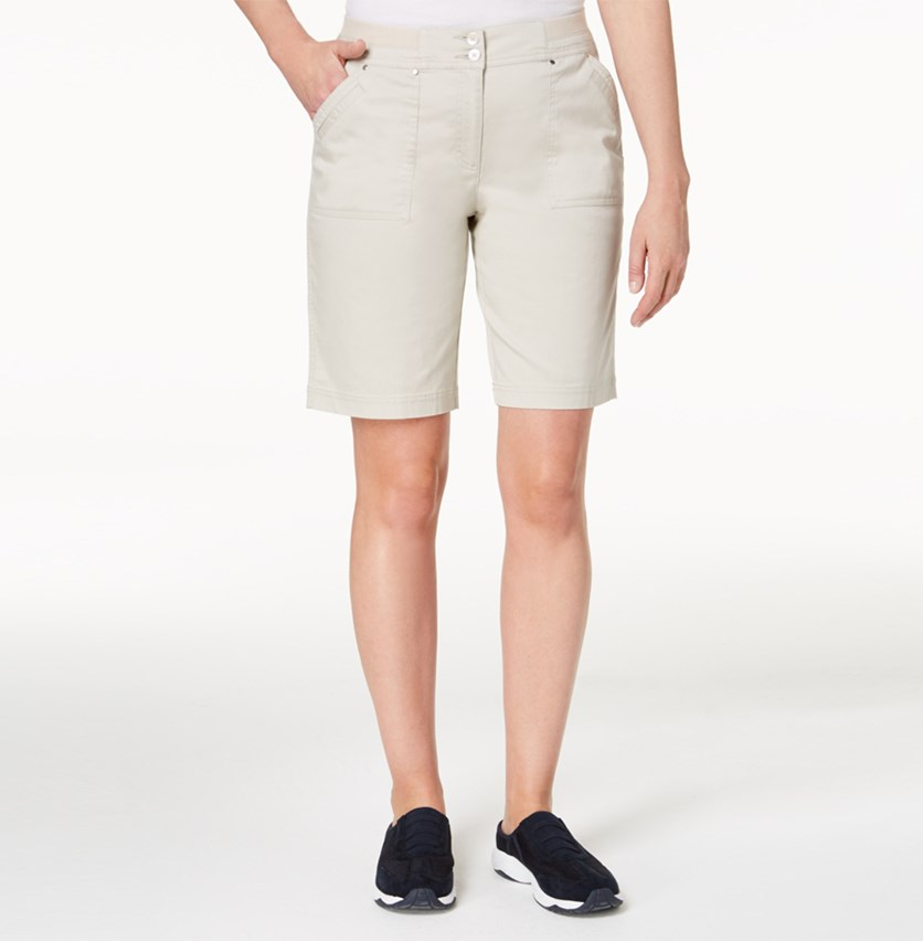 Ribbed-Waist Utility Shorts, Stonewall