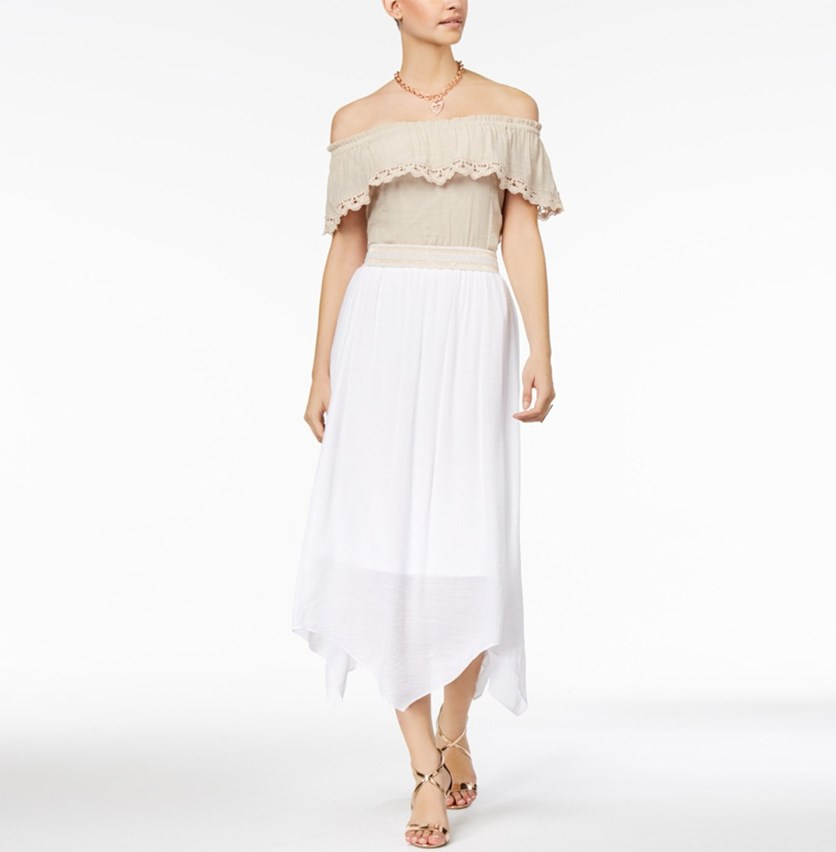 Off-The-Shoulder Tie-Hem Top, Sand