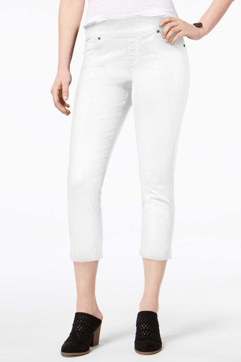 Women's Petite Avery Pull-On Capri Jeans, White