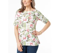 Karen Scott Petite Cotton Boat-Neck Top, Bright White Floral Combo
