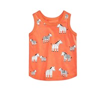 First Impressions Zebra-Print Cotton Tank Top, Chili Powder