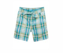 First Impressions Plaid Cotton Shorts, Turquoise