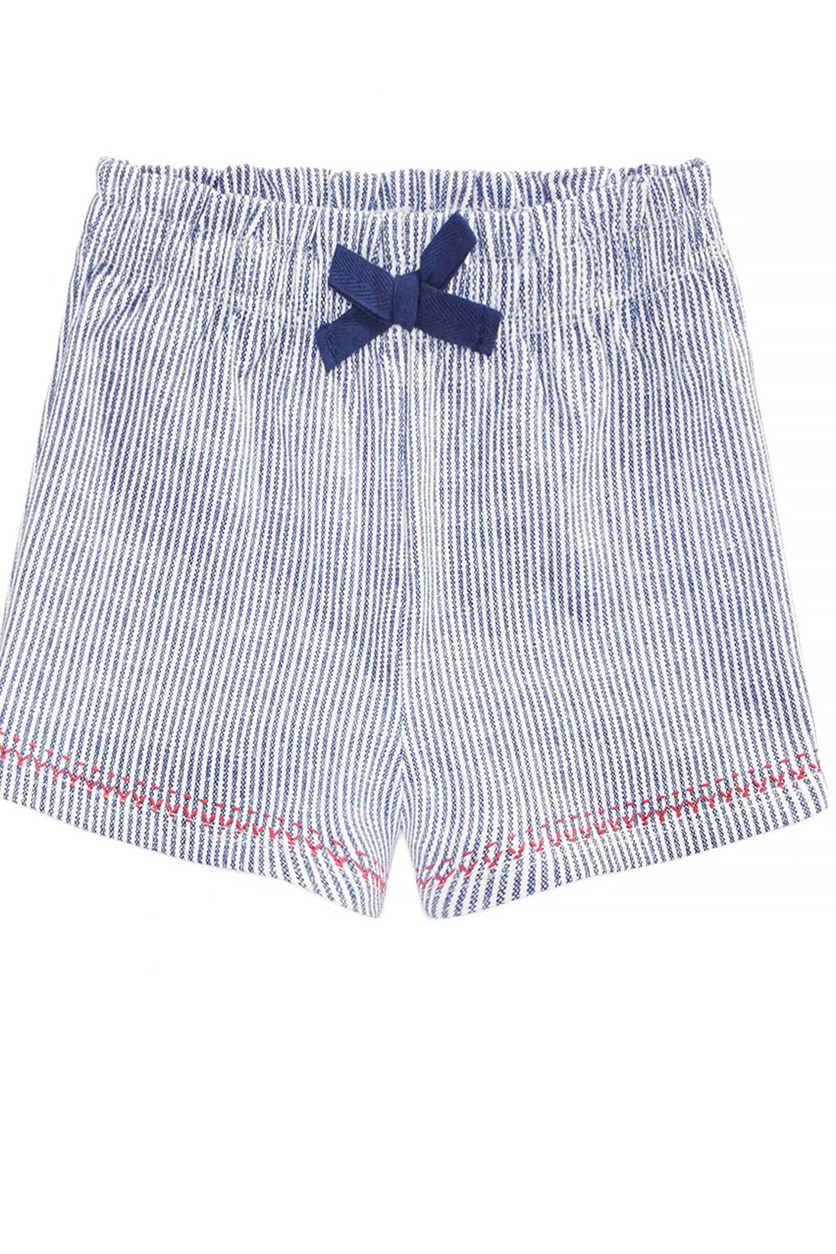 Striped Cotton Shorts, Bright White/Navy