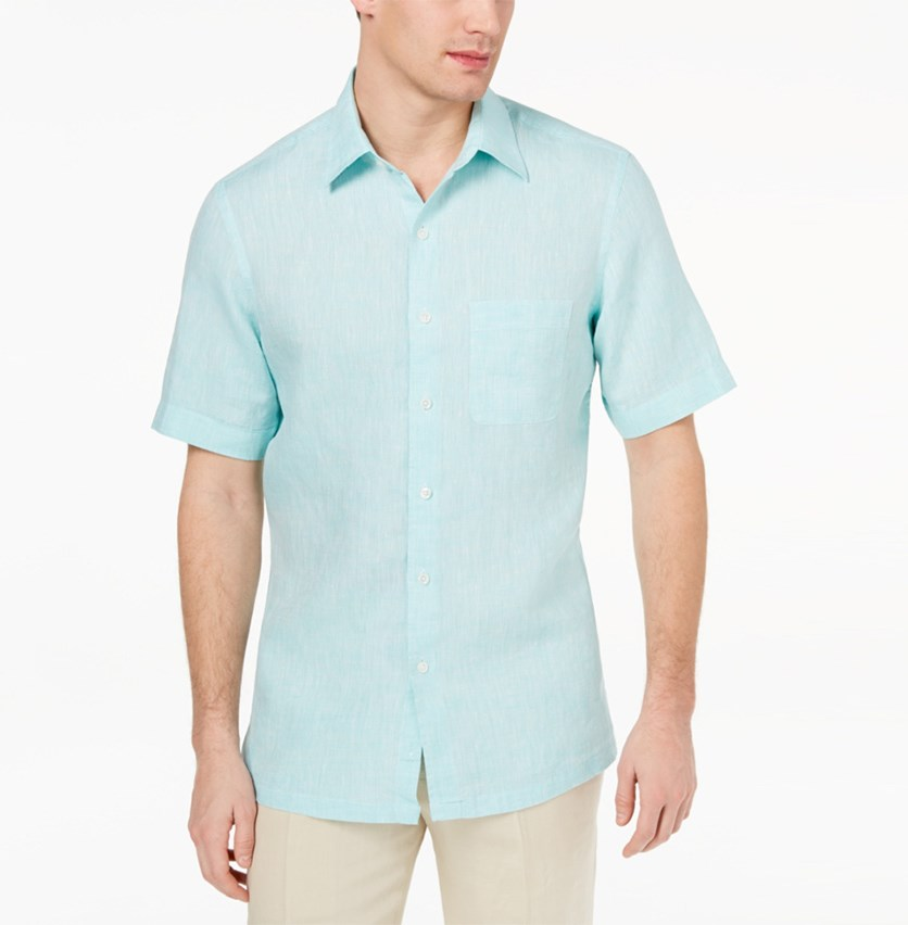 Men's Cross-Dyed Linen Shirt, Mint Combo
