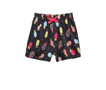 Baby Girls Pineapple-Print Cotton Shorts, Grey Jewel