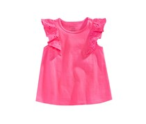 First Impressions Baby Girls Eyelet-Sleeve Cotton Top, Fiery Pink