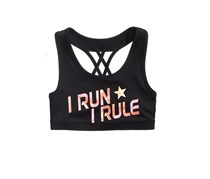 Ideology I Run I Rule Sports Bra, Noir