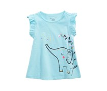 Baby Girl Graphic-Print Cotton Top, Iced Aqua
