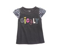 Baby Girls Graphic-Print Cotton Top, Grey Jewel