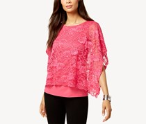 JM Collection Lace-Overlay Poncho-Sleeve Top, Steel Rose
