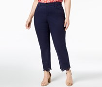 Charter Club Plus Size Eyelet-Trim Ankle Jeans, Intrepid Blue